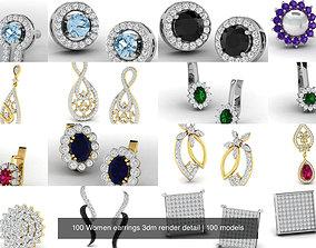 jewelry 100 Women earrings 3dm render detail