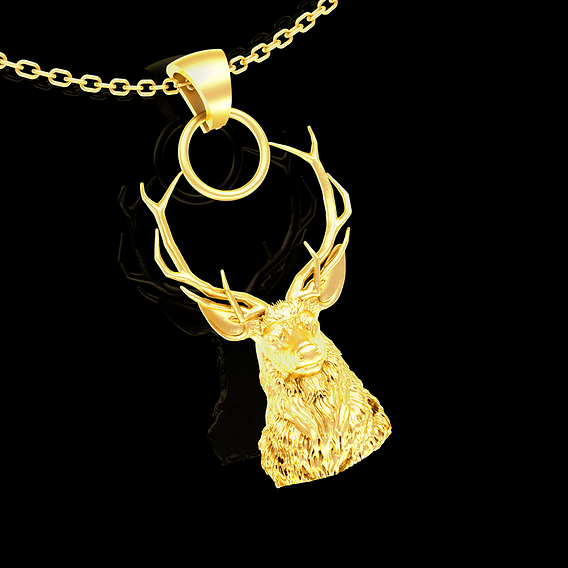 Deer Head Sculpture Pendant jewelry Gold 3D print model