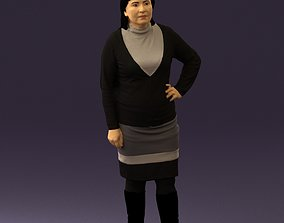 Woman in black and gray 0582 3D