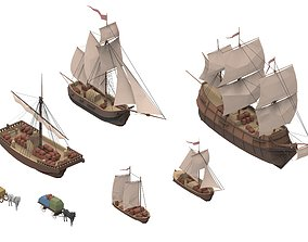 3D model game-ready sailboats collection