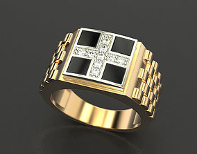 Men ring with a cross and enamel 3D printable model