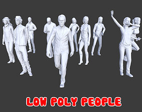 3D asset 10 Low Poly People Posed Collection Pack 11