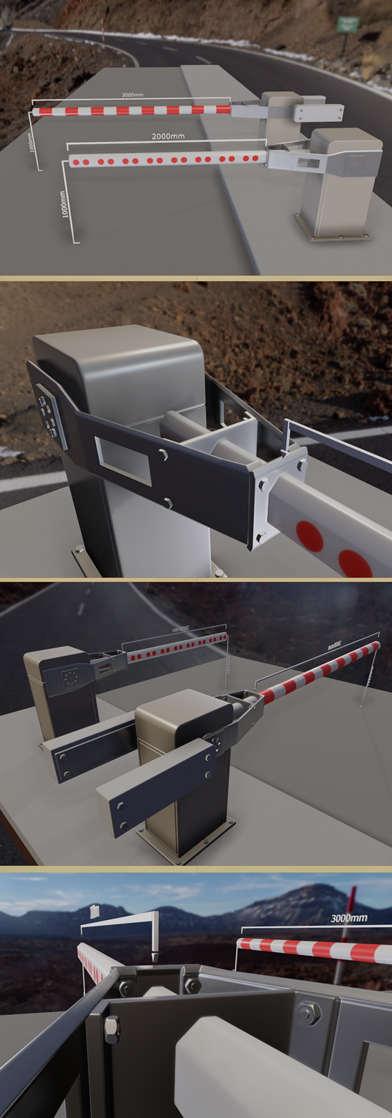 Modern Railway Barriers Set (WIP-2) Blender-2.91 Eevee