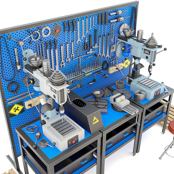 Industrial workbench garage tools and 2M112 drilling press
