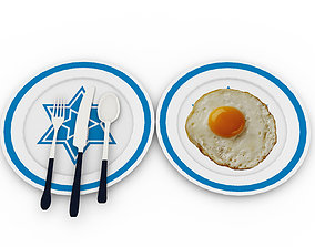 Egg Omelet with plate and knife 3D asset game-ready