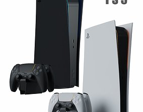 3D model Consol PlayStation 5 with gamepads ps5 from