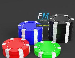 3D PBR Casino tokens stacks