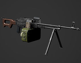 PKM Machine Gun- RIGGED ANIMATED WITH SOUNDS 3D model