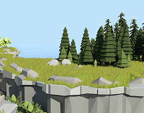 3D asset Low Poly Cliff Pack