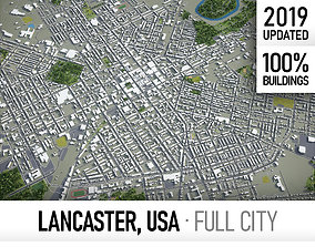 Lancaster - city and surroundings 3D model game-ready