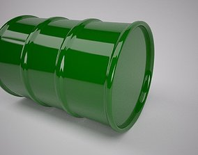 Green Oil Barrel 3D model