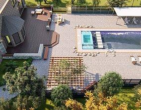 Backyard Design of residential house 3D