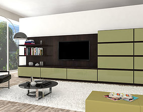 3D Living room interior tv stand