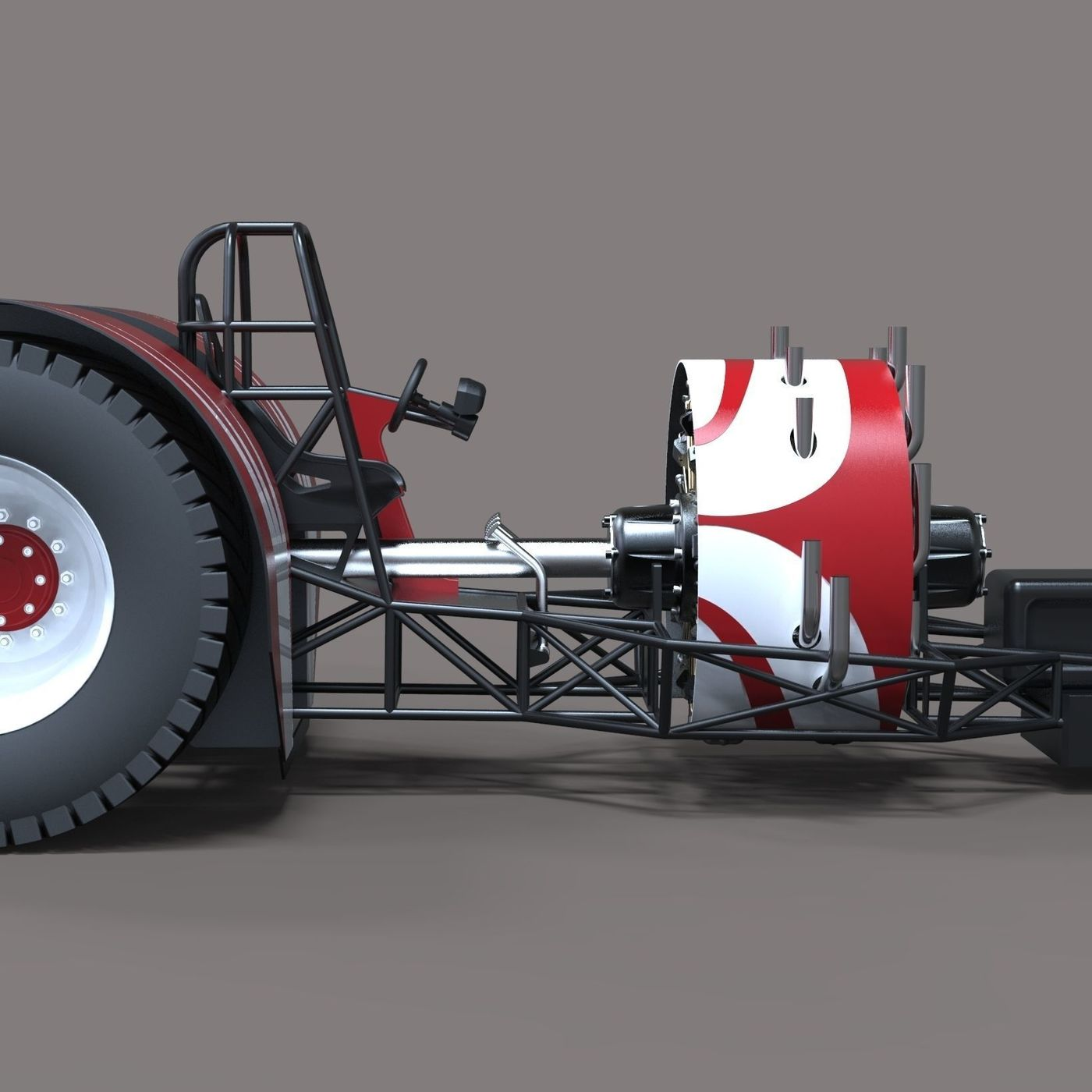 Pulling tractor with radial engine