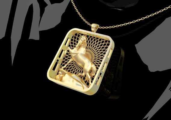 Horse Statue Pendant Jewelry 3D print model
