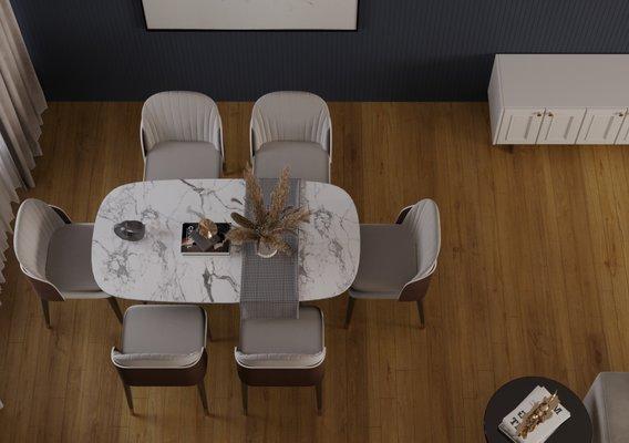 dining hall interior design scene.