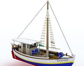 traditional fish boat Mediterranean sea 3D