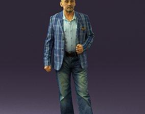 Man in jeans blue white jacket 0559 3D print model