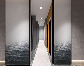 3D model Hotel lobby and elevator modern style