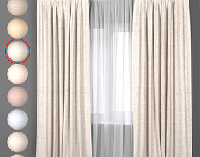 Light curtains in eight colors with white tulle 3D