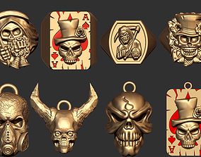 Skull Ring and Pendant Collection 3D