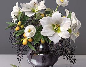 Classy Elegant Amaryllis Flowers-Fruit Vase 3D model