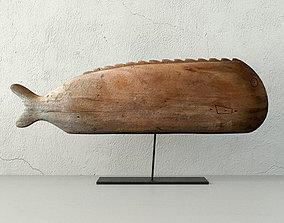 3D Antique Hand Carved Wooden Fish Sculpture
