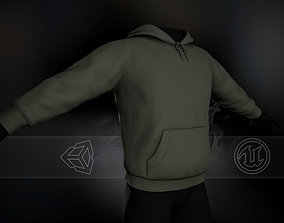 3D asset realtime Green Winter Hoodie