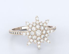 Stylish snowflake ring with diamonds in 3D print model 2