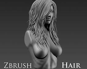 head 3D model Hair Zbrush