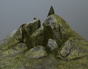 rocks mount stone 3D model realtime