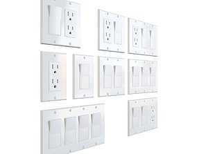 US Electrical Outlet and Light Switches 3D model