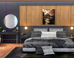 modern bedroom 3d model game-ready