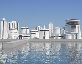 Low Poly Modern Building Set 02 3D