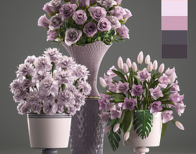 3D model Bouquets of flowers in vases