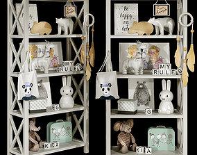 Kids bookshelf set 03 3D model