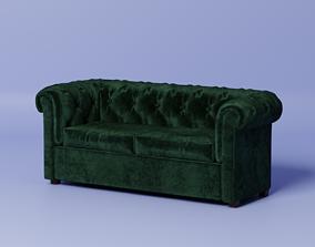 Velvet Chesterfield sofa livingroom 3D