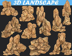 Low poly Realistic Yellow Rock Canyon Modular Pack 3D