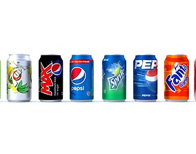 3D model Coke Fanta Sprite Pepsi 7up Cans