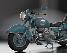 Old Custom motorcycle code 247 3D model low-poly