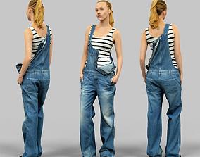 Girl in jeans salopet half open 3D model