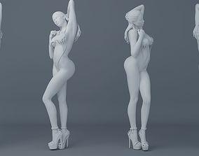 Long hair girl wearing bikini 001 3D printable model