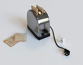 Simple metallic toaster with european plug 3D model