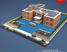 Low Poly High School Building 3D model