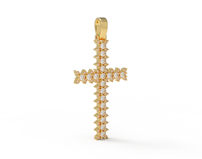 3D printable model Simple cross diamond pendant