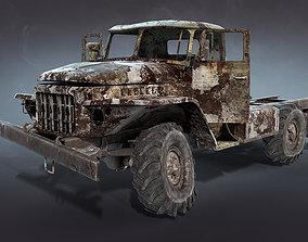 Ural-375 Burnt 3D model VR / AR ready