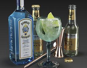 3D model Bombay Sapphire Cocktail Set