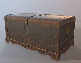 game-ready Old Wood Chest low-poly 3D model