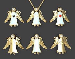 3D printable model Guardian angel pendant or pin set