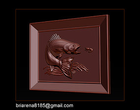 Salmon Bas Relief for cnc carving 3D printable model